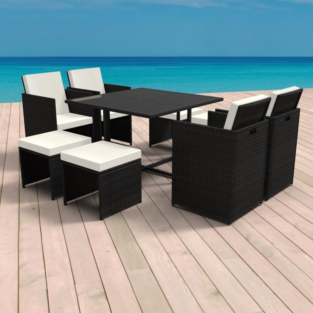 Rattan Sitzgruppe mit Tisch + 4 Stühlen + 4 Hocker