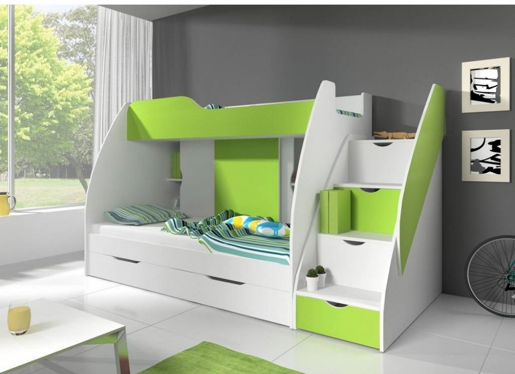 Kinderbett MARTIN 2 weiß + grün 200 x 80 cm