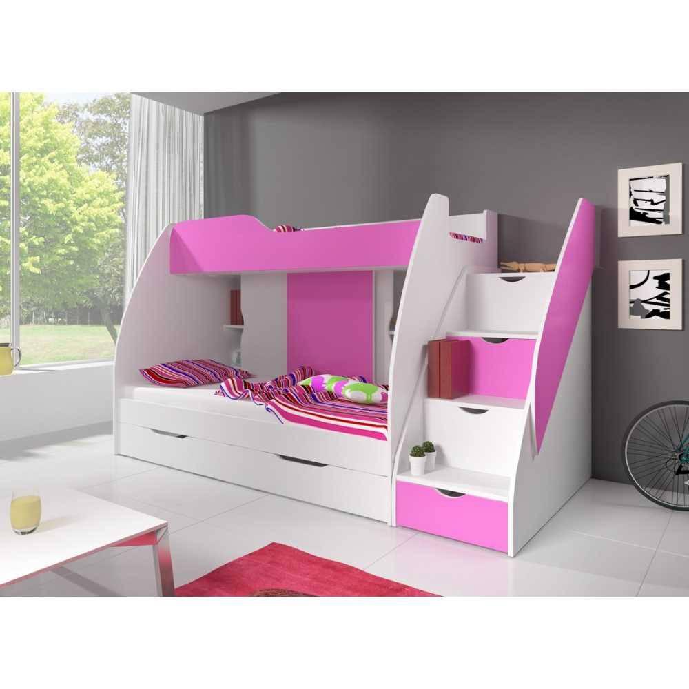 Kinderbett MARTIN 2 weiß + rosa 200 x 80 cm